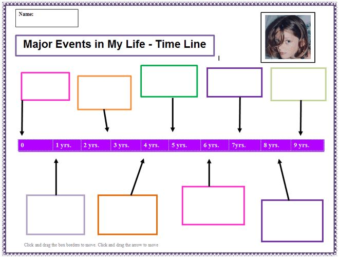 My Life  Time Line Template  K Computer Lab Technology Lesson