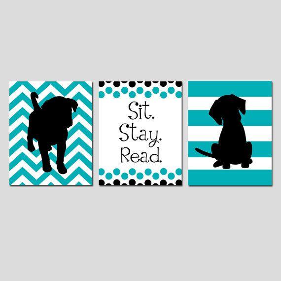Sit Stay Read Puppy Dog Nursery Art Playroom Classroom Decor Trio - Set of Three 11x14 Prints - Chevron Stripe Puppies - CHOOSE YOUR COLORS