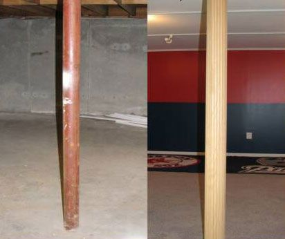 17 best images about hide that ugly basement beam on for Garage pole cover