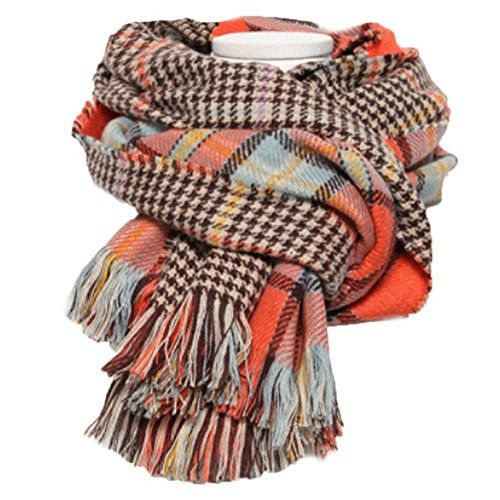 Women's Cashmere Scarf with Square Pattern