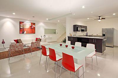 Decoraci n de sala y comedor en blanco y rojo interiores for Decoracion casa rojo