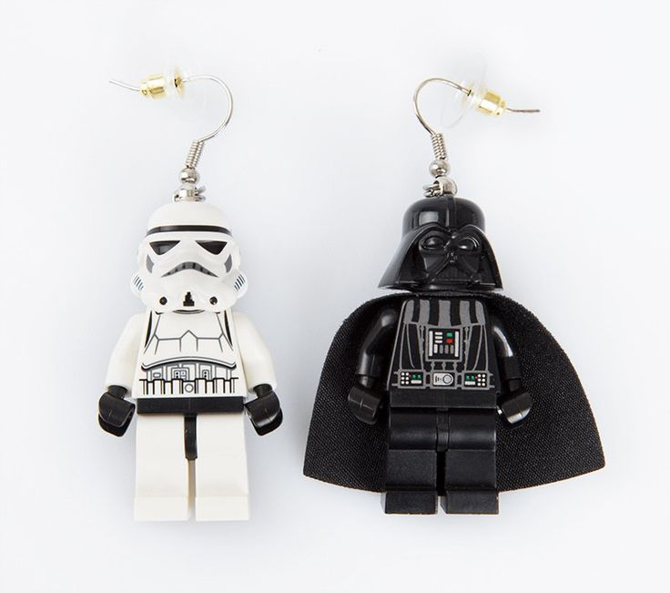 Star Wars Earring by Imagine indonesia. Unique earrings that make from Lego, join the dark side with this Darth Vader and the elite soldiers of the Galactic Empire, Stormtrooper. http://www.zocko.com/z/JJylq