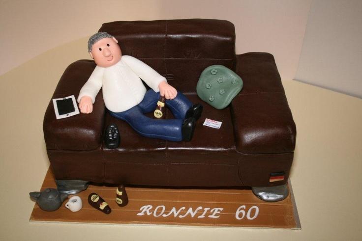 60th Birthday Man On Sofa Celebration Cake From Veblen