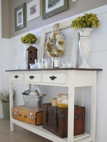 Make Your Console Table Work Harder - Add a lower shelf to keep clutter off the top surface and create more space for everyday items. | from Country Girl Home