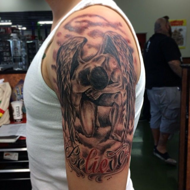 Awesome half sleeve angel tattoo for men tattoo ideas for Angel half sleeve tattoo