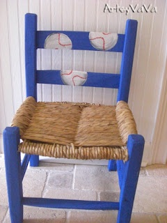 painted kids chair. Paint arms and legs and back blue with red seat and the white phillies p