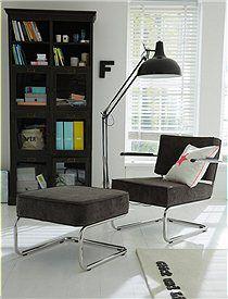 Retro lounge chair and stool (grey cordoroy) -  CAR möbel