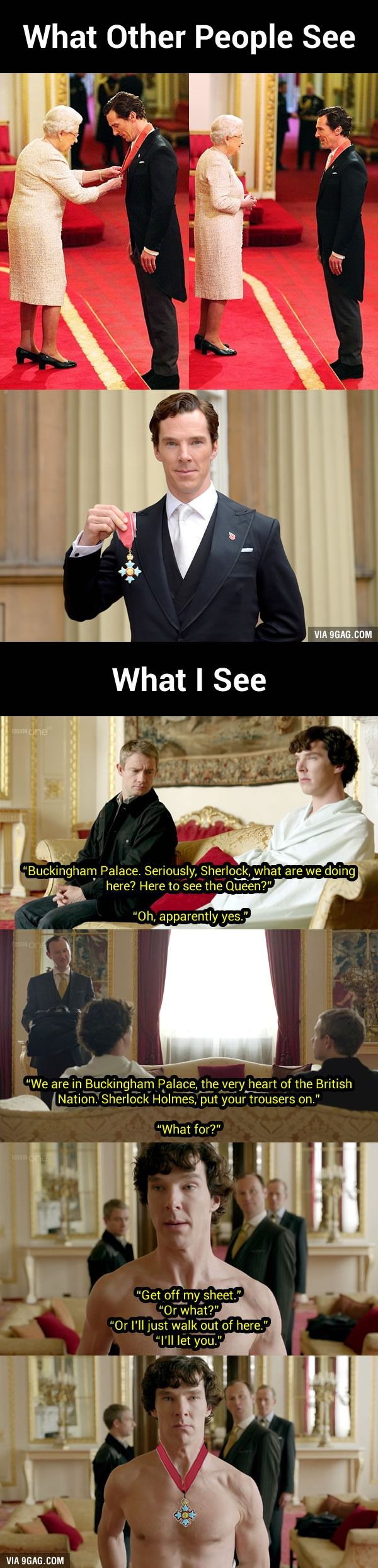 Sherlock Meets The Queen: Benedict Cumberbatch Receiving CBE Looks Oddly Familiar… - 9GAG