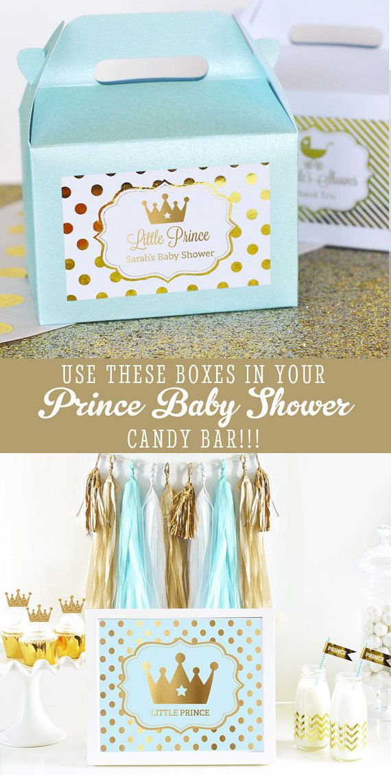 Prince favor boxes in blue and gold make great prince party favors for a prince themed baby shower or birthday