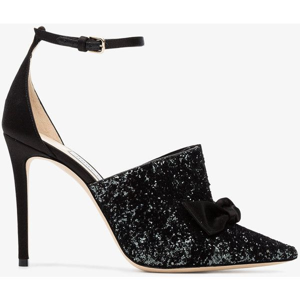 Jimmy Choo Temple 100 Glitter Satin Pumps (5,070 CNY) ❤ liked on Polyvore featuring shoes, pumps, jimmy choo shoes, glitter pumps, black glitter pumps, jimmy choo and black glitter shoes