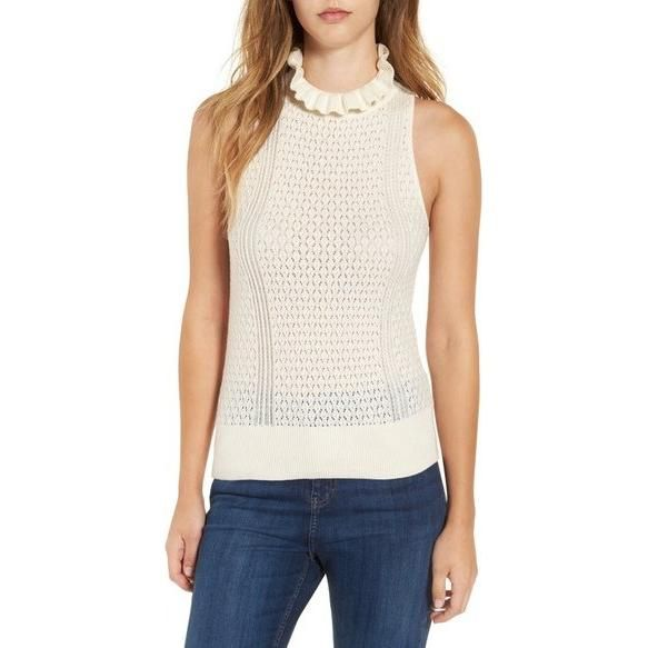 Lauren Bushnell wearing Leith Ruffle Neck Sleeveless Sweater