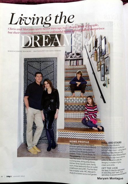 This is a photo that Richard Powers took and is in this month's Living Etc. Magazine. The stairs are done with Moroccan stencils from Royal Design Studio. To learn more about Moroccan design (& see lots of images), check out:   http://www.amazon.com/Marrakesh-Design-Maryam-Montague/dp/1579654010