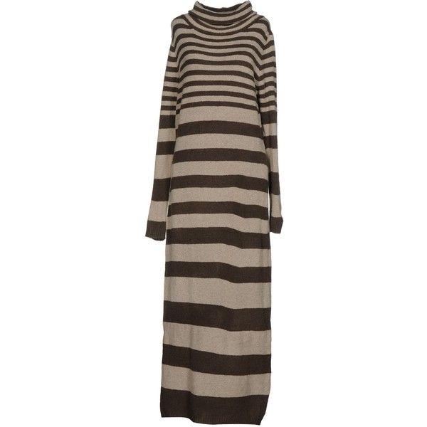 Angela Mele Milano Long Dress (585 PLN) ❤ liked on Polyvore featuring dresses, beige, brown turtleneck, long-sleeve maxi dresses, beige long sleeve dress, beige dress and brown long sleeve dress