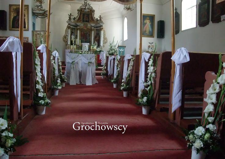 dekoracja kościoła na ślub Człuchów Polnica dekoracje ławek