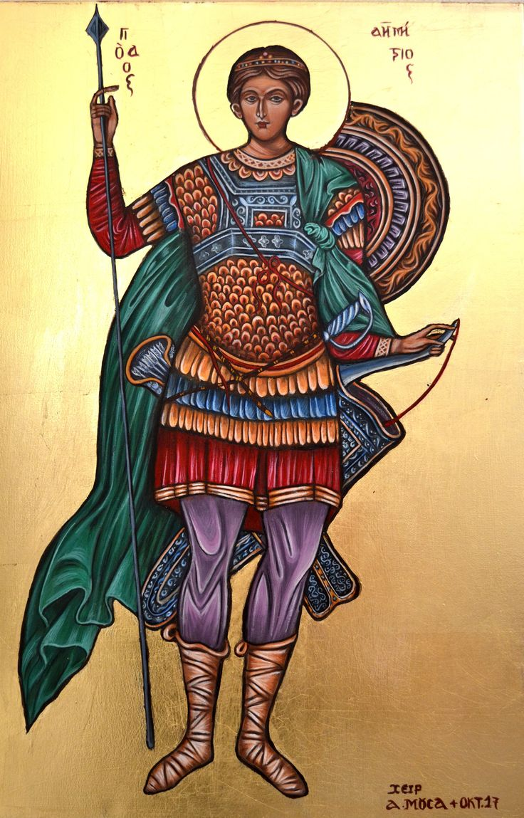 St. Dimitriors as a warrior. Byzantine iconography, by hand of Alexandra Mousa