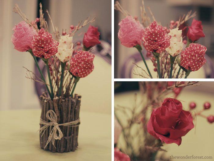 DIY fabric flower bouquet for Valentines Day!: Rose, Fabric Flower Bouquets, Fabric Flowers, Diy Fabric, Wedding Ideas, Super Easy, Recipes, Fabrics, Flowers