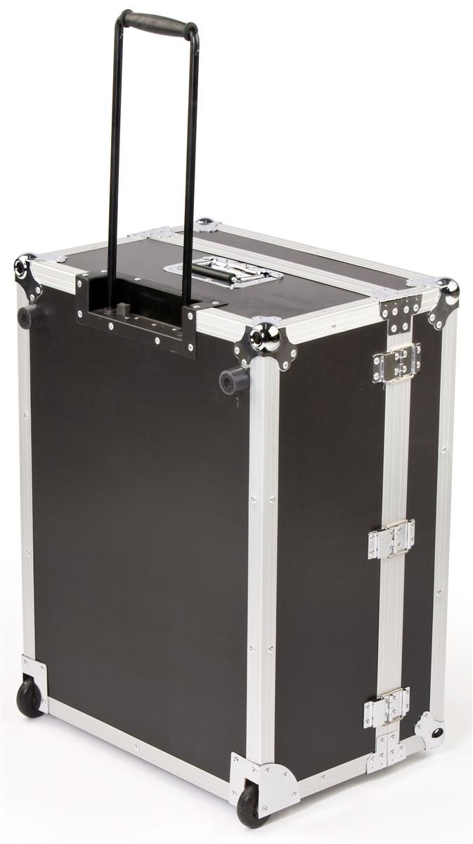 "21"" x 43"" Equipment Case with Wheels, Butterfly Latches & Retractable Handle - Black"