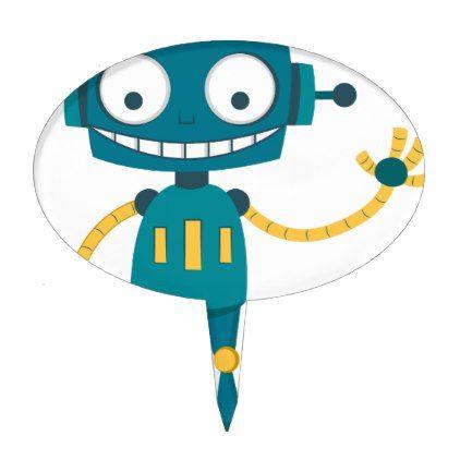Blue Robot Cartoon Cake Topper - blue gifts style giftidea diy cyo