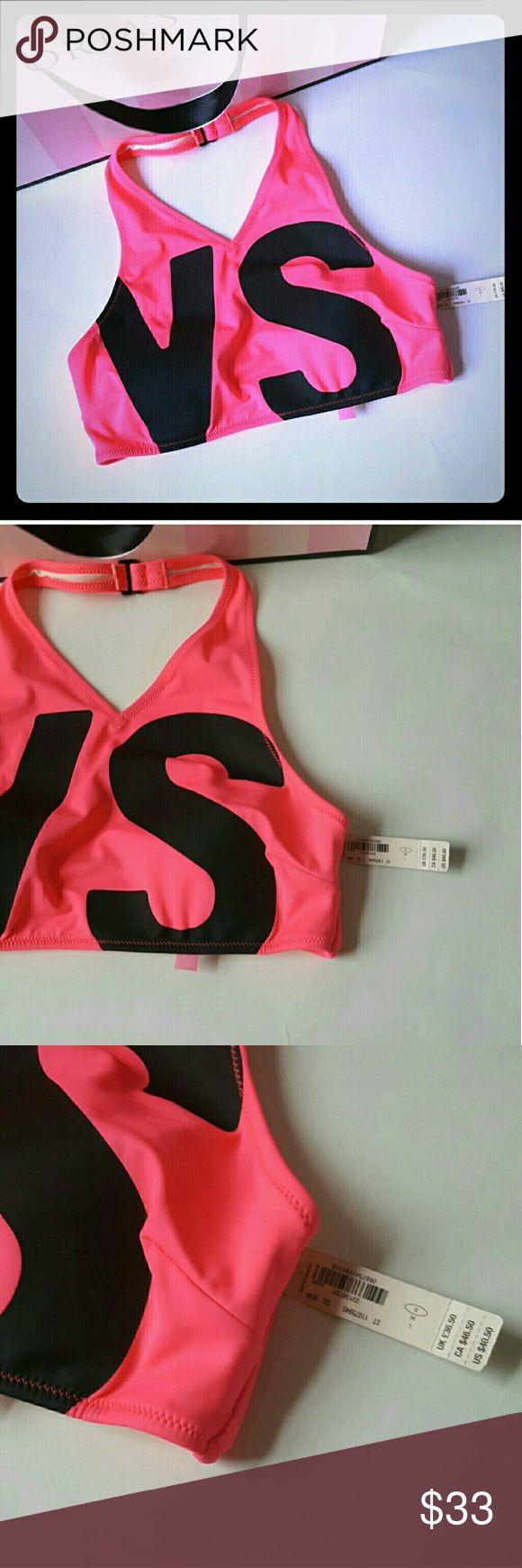 New! Victoria's Secret swim bikini top! New with tags! victoria's Secret swim bikini top, size small. Fits 32c 32d 34a 34b and 34c. Removable light padding.  Bundle up! Offers always welcome:) Victoria's Secret Swim Bikinis