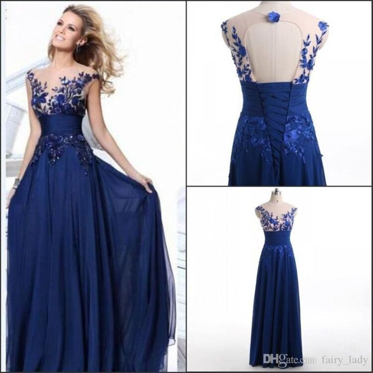 Real Photos Long Formal Evening Dresses With 3d Floral Appliques Embroider Royal Blue Chiffon Sheer Neck Open Back Party Prom Gowns Floor Length Evening Dresses Uk Full Length Evening Dress From Fairy_lady, $65.43| Dhgate.Com