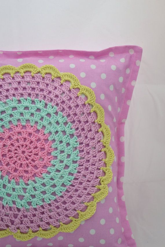 Pillow case with a crochet applique. $25.00, via Etsy.
