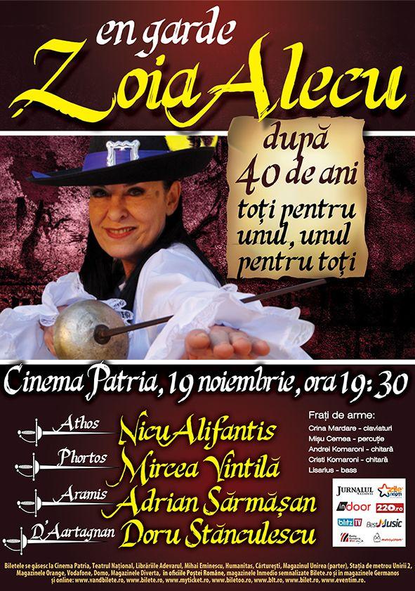 "Concert extraordinar Zoia Alecu, ""Dupa 40 de ani"", 19 noiembrie 2013, ora 19.30, cinema Patria"