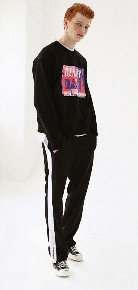와이드팬츠 느낌으로 연출하는 트레이닝팬츠 winter special sale! Massnoun Unisex Track Pants HIT TRACK PANTS MFSTP001-BK