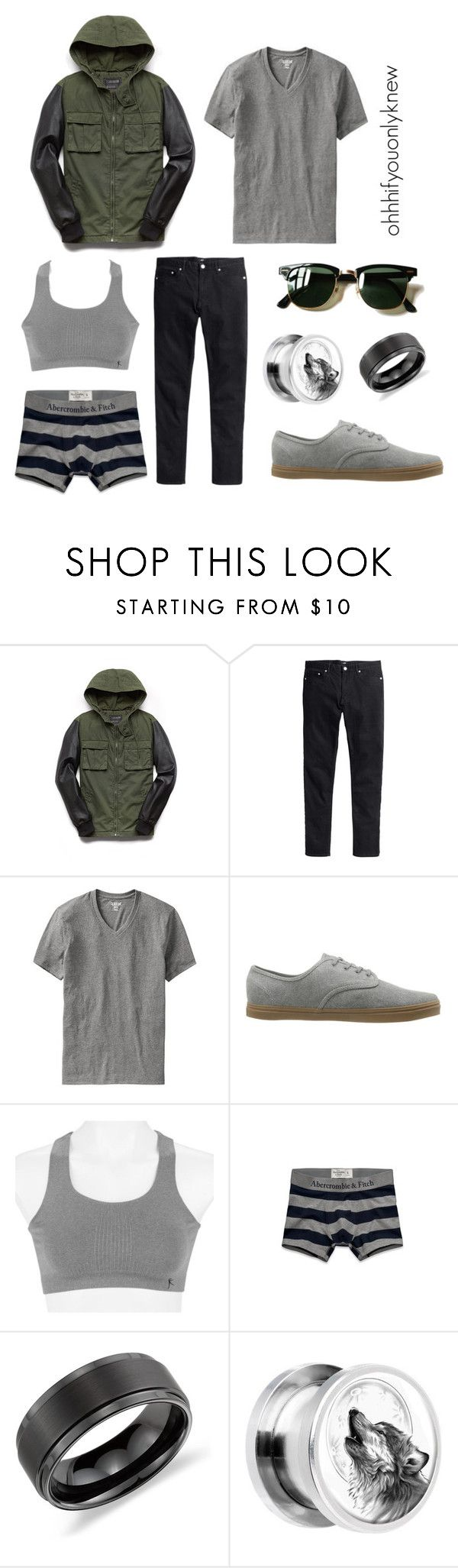 """Untitled #226"" by ohhhifyouonlyknew ❤ liked on Polyvore featuring 21 Men, H&M, Old Navy, Vans, Danskin, Abercrombie & Fitch, Ray-Ban and Blue Nile"