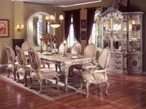 Furniture Design Dining Room Table Sets White Wash Finish 7 Pc Alexander I Collection Antique Wood