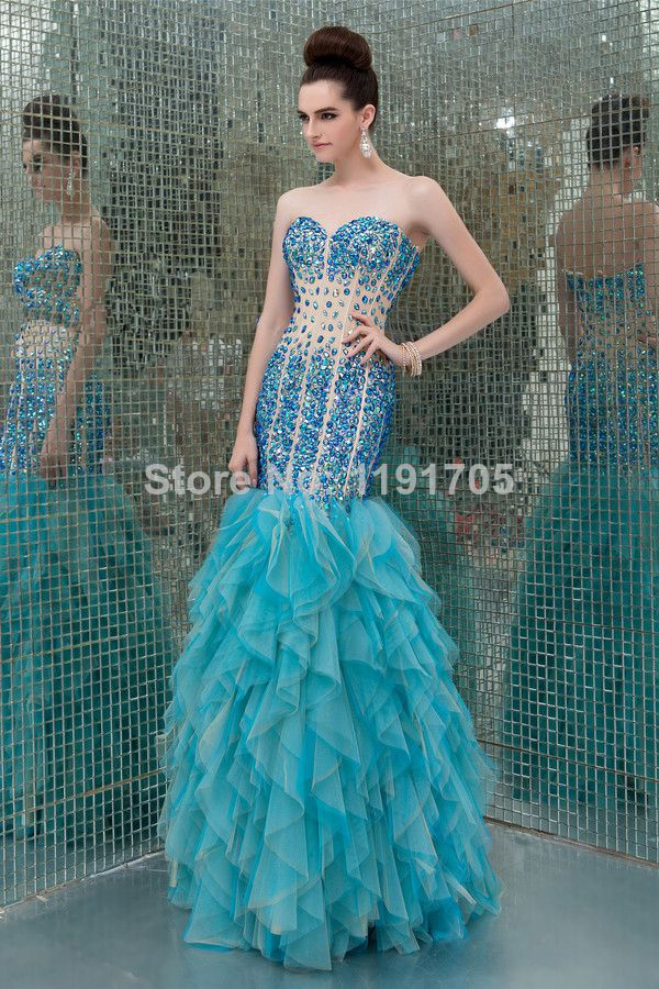 Free shipping Elegant Sweetheart Strapless Beading Blue Prom dress 2014 Mermaid Floor Length Evening Gowns 2014 New Style $189.00