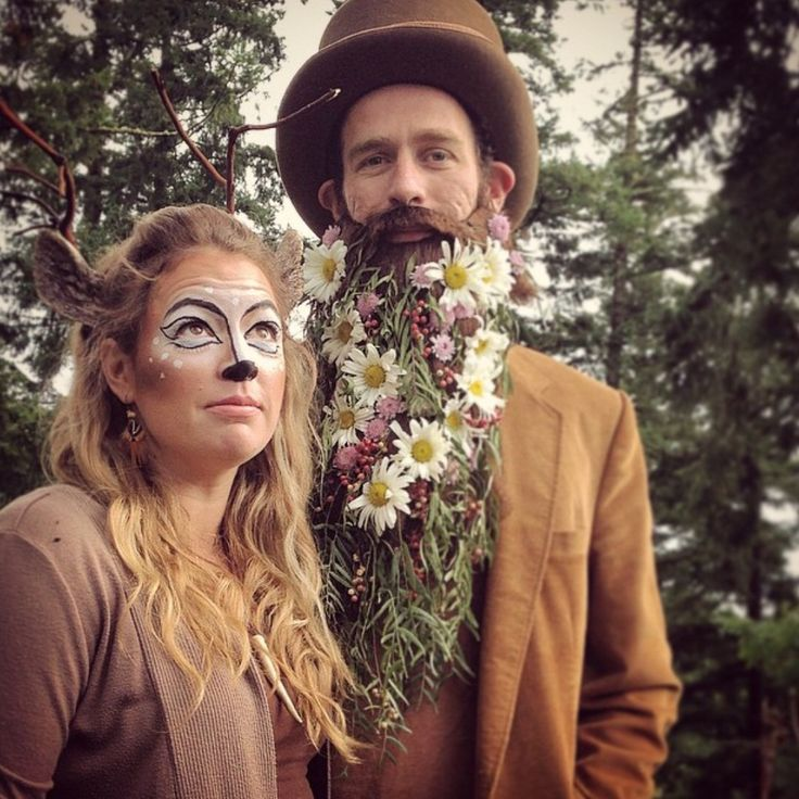 diy couples halloween costume found in the forest doe flower bearded man - Halloween Costumes With Facial Hair