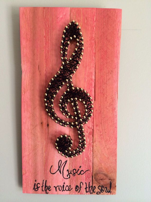 "Music note art, treble clef art, music room art, home decor, string art, 11 by 6"", music quote, gift idea                                                                                                                                                     More"