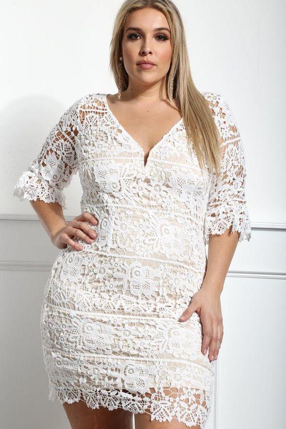 Grosse Grossen Weisse Partykleider Fur Mollige Damen Elbise Modelleri Elbise Nisan