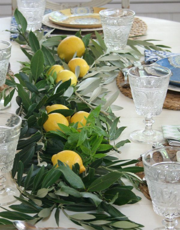 Mediterranean Garden Wedding Lemons and Olive Branches Table Runner