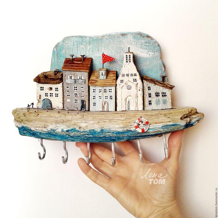 Купить Ключница 'Домики на побережье' дрифтвуд-городок, вешалка - белый, бирюзовый, домики, домик на море