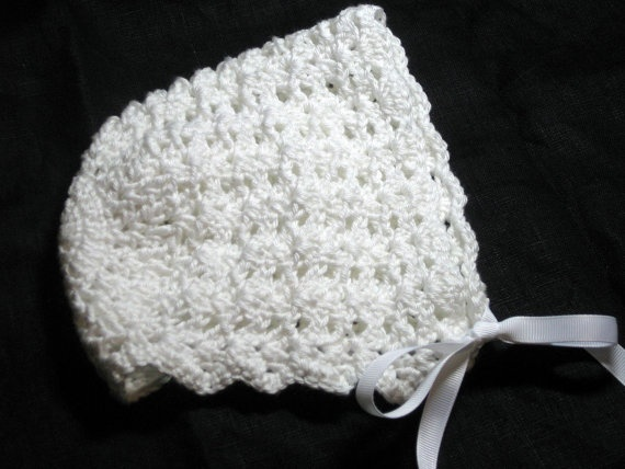 Baby Bonnet Crochet Scalloped Shell Baby Hat In White By