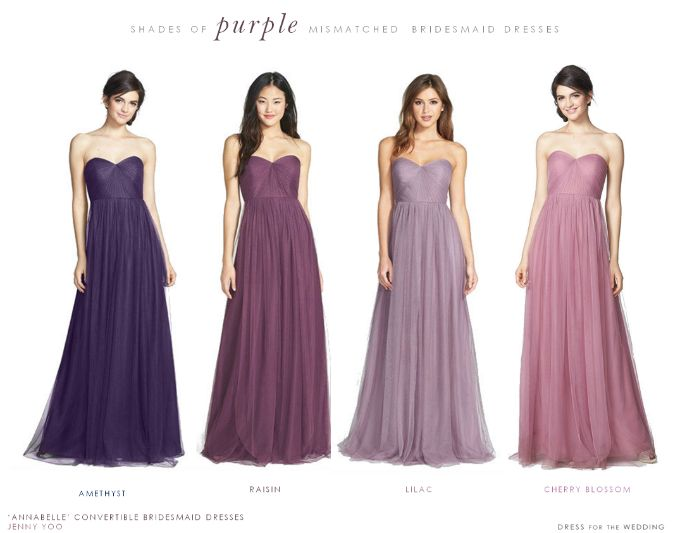Purple Mismatched Bridesmaid Dresses Bridesmaids Pinterest And
