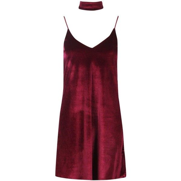 Boohoo Rosine Velvet Strappy Choker Slip Dress | Boohoo (€13) ❤ liked on Polyvore featuring dresses, red party dresses, red skater dress, maxi dresses, midi dresses and red dress