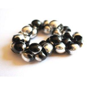 25pcs Czech Glass Mushroom Button Beads 9x8mm Jet Silver (Jet Labrador)