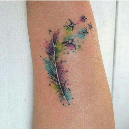 Faery like tattoo feather and birds