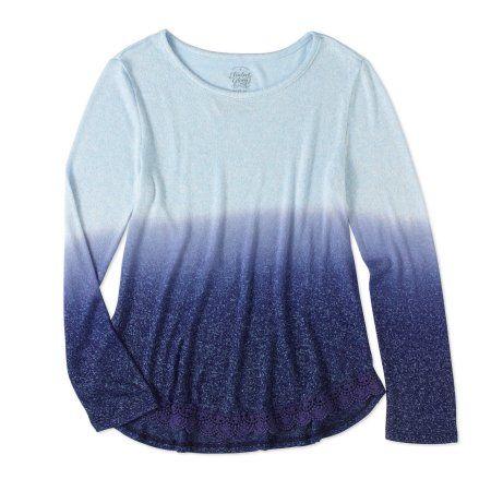 Faded Glory Girls' Long Sleeve Dip Dye Hacci Top, Size: 10/12, Blue