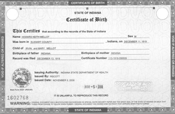 Printable Medication Administration Birth Certificate Template