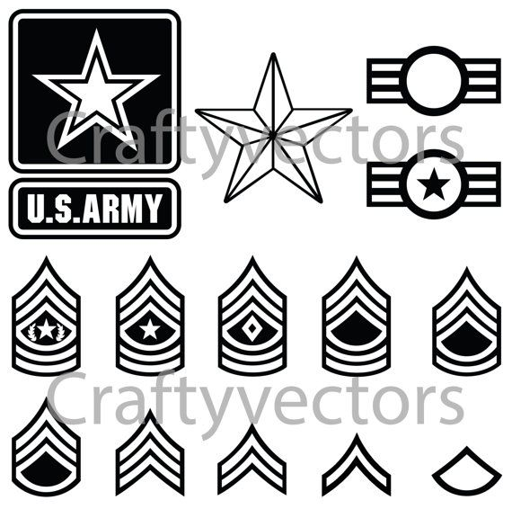 US Army Badges and Stripes Vector File SVG by CraftyVectors