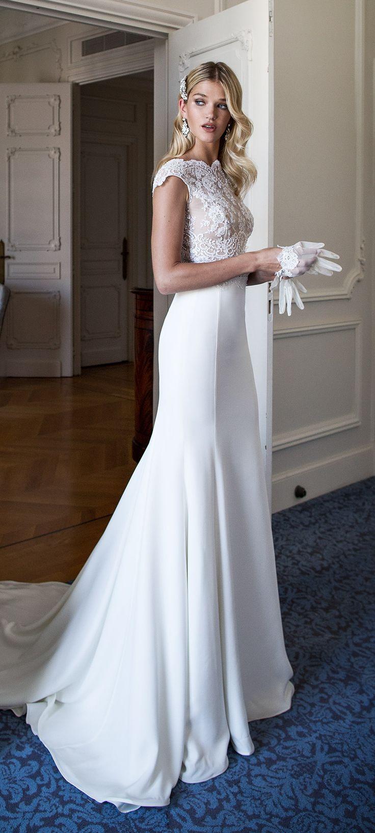 BLETILLA by Alessandra Rinaudo. An incredibly elegant contemporary wedding dress with cap sleeve lace  bodice. #AR_2017Collection #AlessandraRinaudo #bridal #wedding #ad #weddingdress #lace #romantic