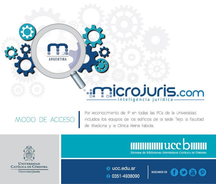 NUEVO recurso digital!! Microjuris Argentina es el nuevo recurso digital que te brinda el Sistema de Bibliotecas de la UCC Aquí encontrarás todas las herramientas que necesitas para estar al día en materia jurídica.  Microjuris te brinda la más actual y completa jurisprudencia, legislación nacional, doctrina, bibliotecas especializadas, y más, con la mejor atención personalizada. #microjuris #RecursosDigitales #bibliotecas