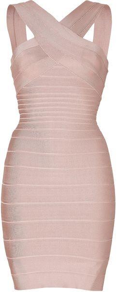 HERVE LEGER Stella Vneck Bandage Dress in Bare - Lyst