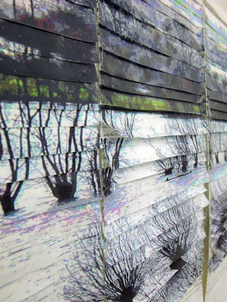 This is a detail and you can see the writing behind the slats of transferred fabric. It covers the social and economic history of the Somerset Levels and includes the political involvement last year during the flooding.