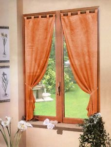 dettagli su coppia tende arancio raso 60x150 tenda finestra cucina soggiorno camera bagno