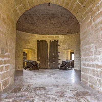 Polvora tower Almeria Alcazaba - gunpowder cannons set for battle...