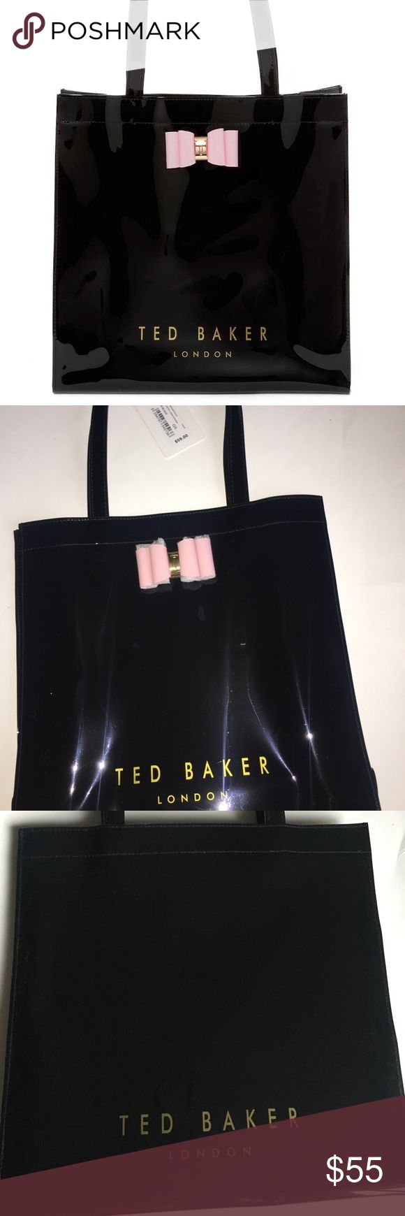 Ted Baker London PVC tote NWT Ted Baker black tote with pink bow. Signature bag to have! Ted Baker London Bags Totes
